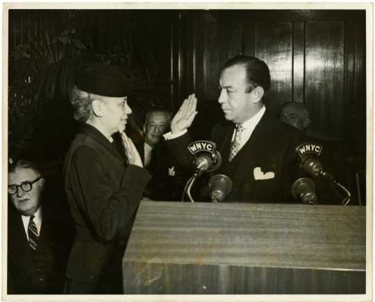 Anna Arnold Hedgeman being sworn in to Robert F. Wagner, Jr.'s mayoral cabinet, 1954. Wagner was the mayor of New York City from 1954 until 1965.