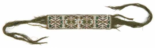 Color image of Dakota band with loomed, geometric beadwork, c.1890.