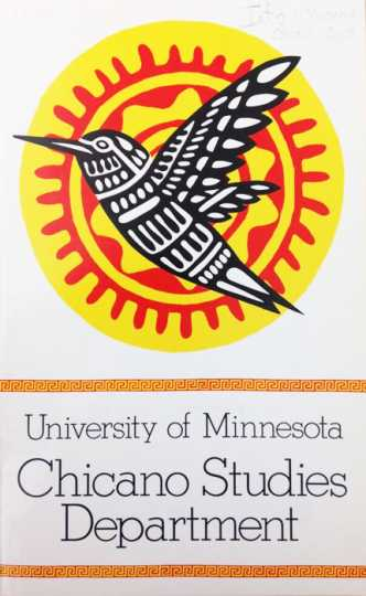 Scan of cover of Chicano Studies 1975 departmental brochure of classes (University of Minnesota)