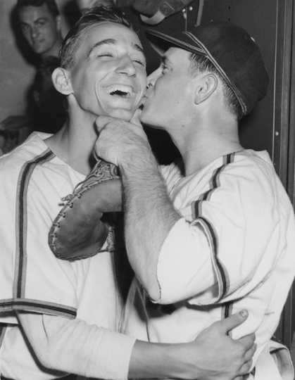 "Rox manager Charlie Fox smacks Ramon ""Rosey"" Rosenkranz after a win in 1950. From the Stearns History Museum, St. Cloud."