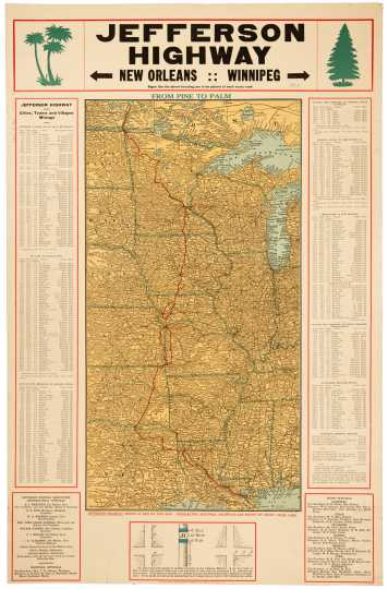 Map of the route of the Jefferson Highway, 1917