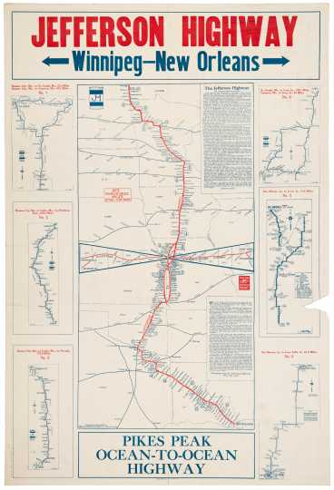 Map of the route of the Jefferson Highway, 1921