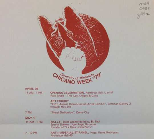 Scan of detail of a 1979 Chicano Week flyer (Universityof Minnesota)