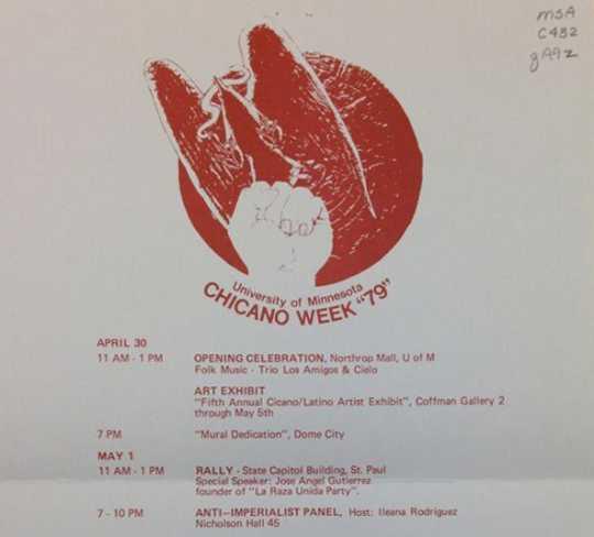 Scan of detail of a 1979 Chicano Week flyer (Universityof Minnesota)