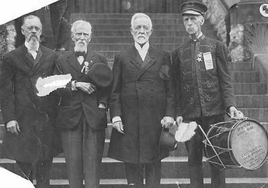 L to R: W. H. Adams, Adam Marty, Reverend W.C. Rice(?), C.P. Fix