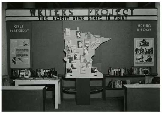 Writers Project booth, Works Progress Administration exhibit, State Fair