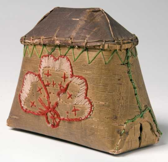 Photograph of maple sugar container made of birchbark