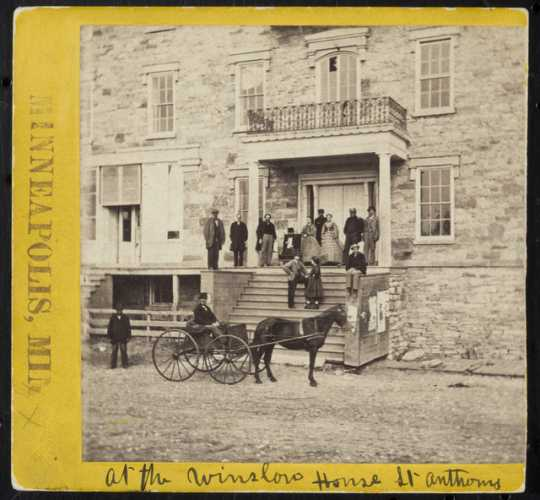 Black and white photograph of entrance to Winslow House, St. Anthony. 1860 photo by William H. Jacoby.