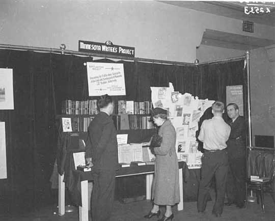 Minnesota Writers Project display booth, Minneapolis Auditorium.