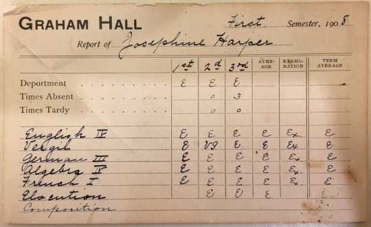 Color image of a Graham Hall report card, 1908.
