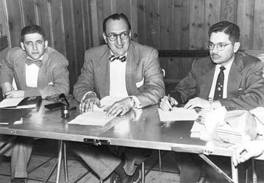 Black and white photograph of Men's board, Adath Jeshurun Congregation, Minneapolis, c.1950.