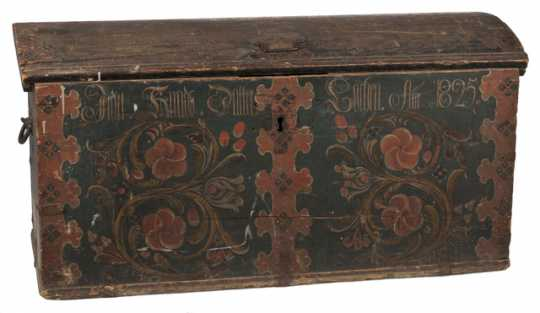 Photograph of a painted trunk used by a Norwegian immigrant