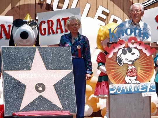 Charles M. Schulz receiving his star on the Hollywood Walk of Fame