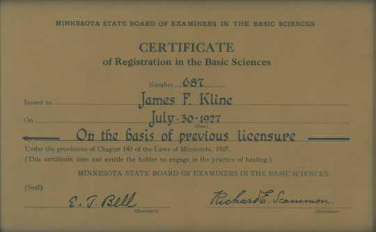 James F. Kline registration certificate