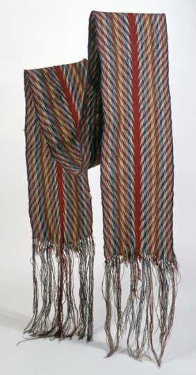 "Color image of a French-Canadian finger-woven wool sash in ceinture flechee or ""arrow sash"" pattern, ca. 1750–1800."
