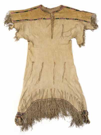 Dakota woman's hide and wool dress, c.1850s.