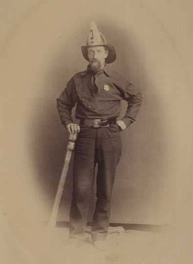 Adam Marty in fire fighter uniform.
