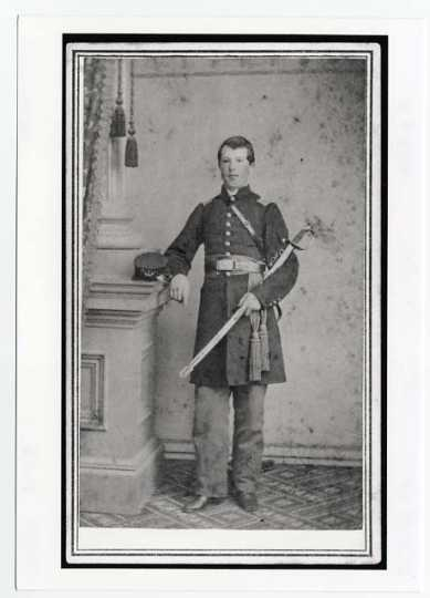 Black and white full-length portrait photograph of John K. Arnold, c/1863
