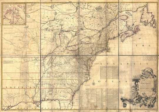 Map of North America drawn by John Mitchell, 1755.