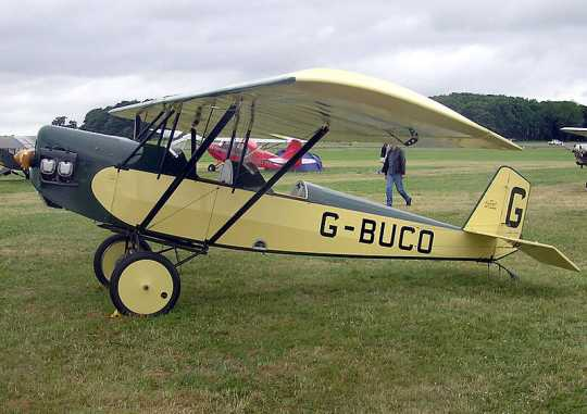Color photograph of home-built Pietenpol Air Camper (UK registration G-BUCO) at Kemble Airfield, Gloucestershire, England.
