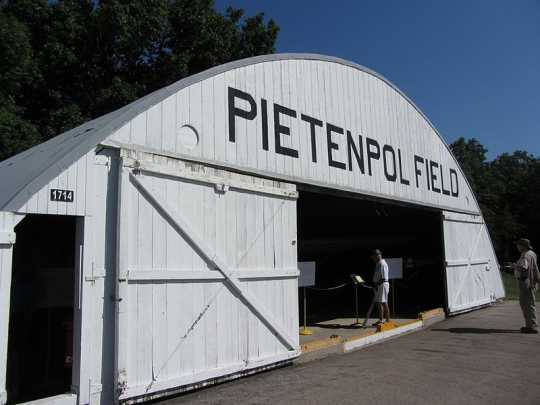Photograph of the Pietenpol Field Hangar, moved to EAA Airventure Museum Pioneer Field in 1984.