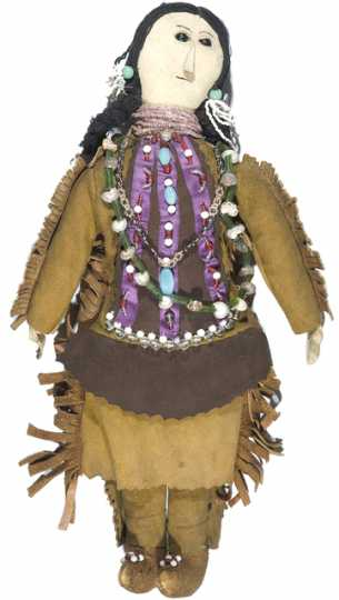 Color image of a doll probably made by Rebecca Bluecloud, an artist from the Upper Sioux Indian Community in Granite Falls, in the 1920s or 1930s.