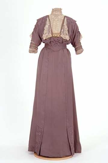 Lavender satin dress made by dressmaker Caroline Mundahl, St. Paul, 1910–1913.