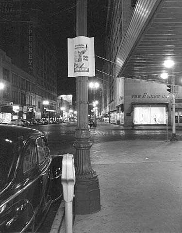 """""""Fight Polio"""" poster for Sister Kenny Institute on light pole, downtown Minneapolis."""