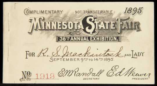 Ticket allowing admittance to the Minnesota State Fair, 1895.