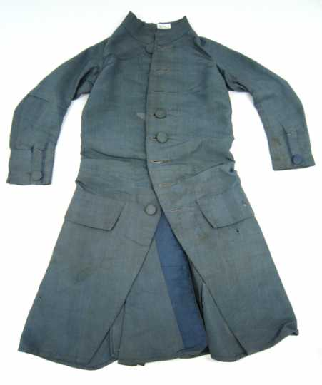 Color image of a hand-sewn silk suit worn by Josiah Snelling as a young boy, c.1787.