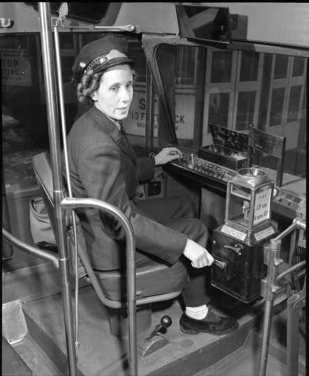 photograph of motorette operating streetcar