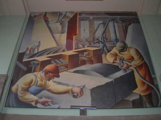 Color image of Construction – St. Cloud, 1938. Tempera on plaster by David Granahan.