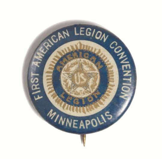 Color image of a First American Legion Convention Button, 1919.