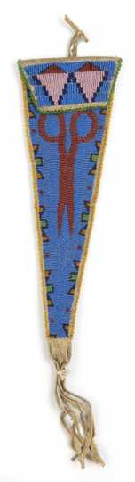 Color image of a beaded Dakota case, c.1900. From the Cheyenne Indian Reservation; probably made as a tourist souvenir.