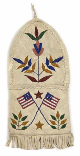 Color image of a beaded wall pocket made by Dakota Indians. Collected at the Cheyenne River Indian Reservation in the late nineteenth or early twentieth century.