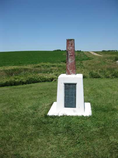 Tri-State marker at the junction of the states of Minnesota, Iowa, and South Dakota, looking north. The marker was erected in 1859. Photographed by William Lass on May 23, 1972.