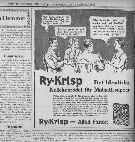 Newspaper advertisement from Svenska Amerika Posten