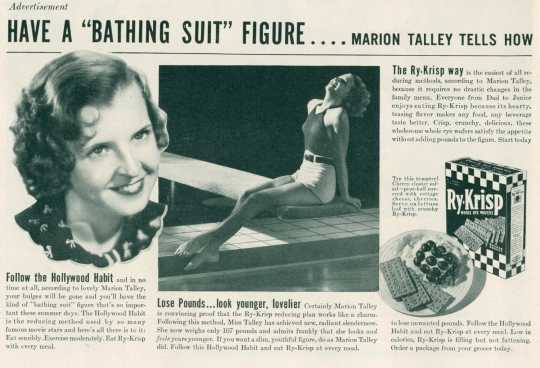 Magazine advertisement from LIFE magazine with opera singer Marion Talley