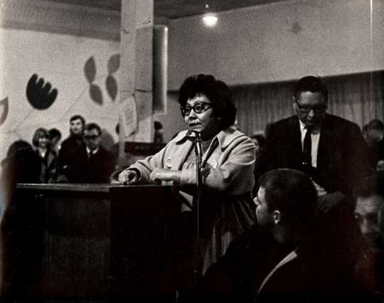 Black and white photograph of an AIM-organized Forum on Police Brutality, ca. 1968.