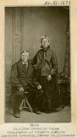 Wendelin and Julianna Grimm. Mr. Grimm  is the originator of Grimm's Alfalfa. Circa 1870.