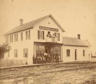 Black and white photograph of the Sherman House Hotel, Waconia, c.1890.