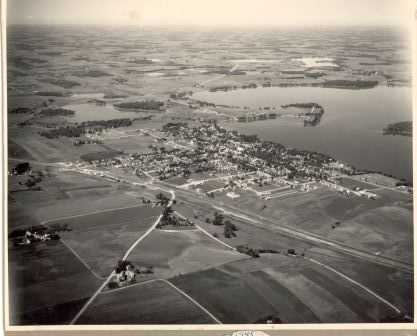 Black and white aerial View of Waconia, c.1945.