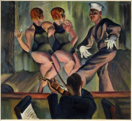 Two Girls, One Sailor, 1926. Oil on canvas by Clement Haupers.
