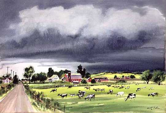 Rainstorm in Minnesota, watercolor on paper by Adolf Dehn, 1950.
