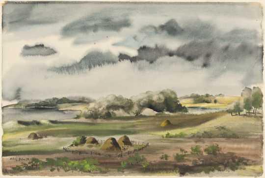 Hay Meadows, watercolor on paper by Adolf Dehn, 1935.