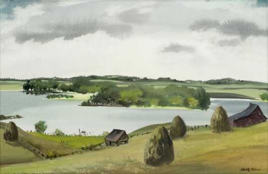 Northern Minnesota Lake, watercolor on paper by Adolf Dehn, 1950.