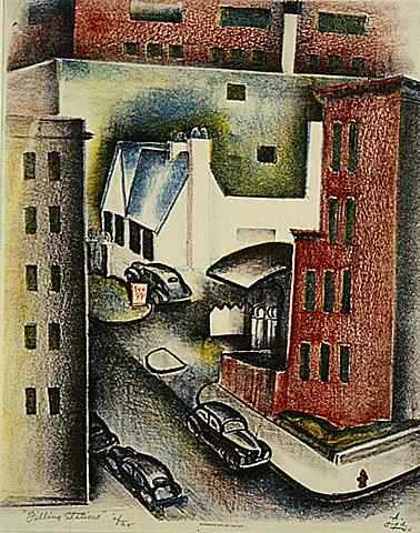 Color image of Filling Stations, 1940. Lithograph on paper by Alexander Oja.