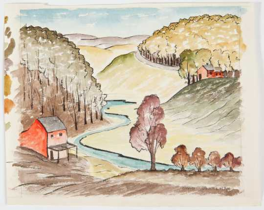 Provencale Landscape, c.1933. Oil on board by Clement Haupers.