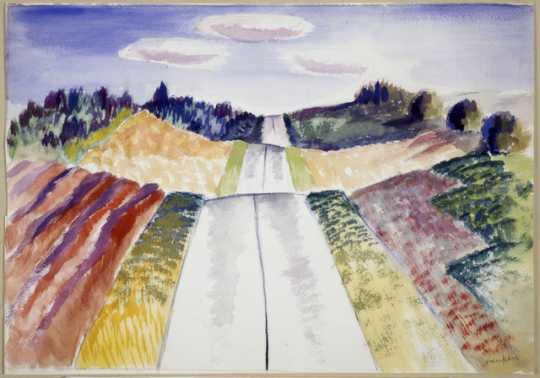 Color image of The New Highway #61, c.1939. Watercolor on paper by Clement Haupers.