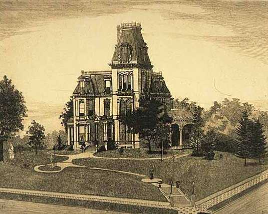 Etching of the Norman Kittson mansion made by Charles William Post, 1889.